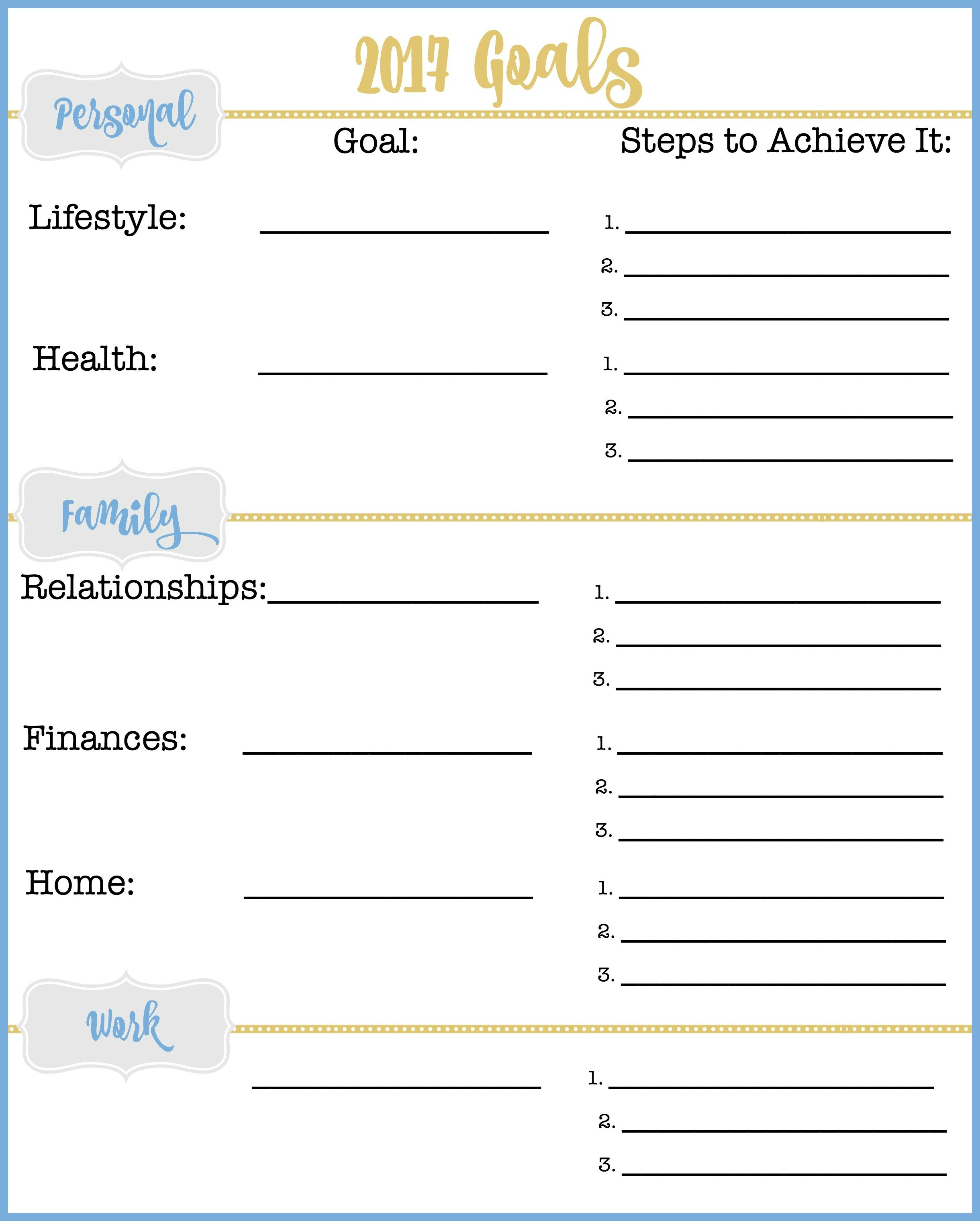 A Great Goal Setting Worksheet to Set You Up for a Successful Year – Setting Worksheet